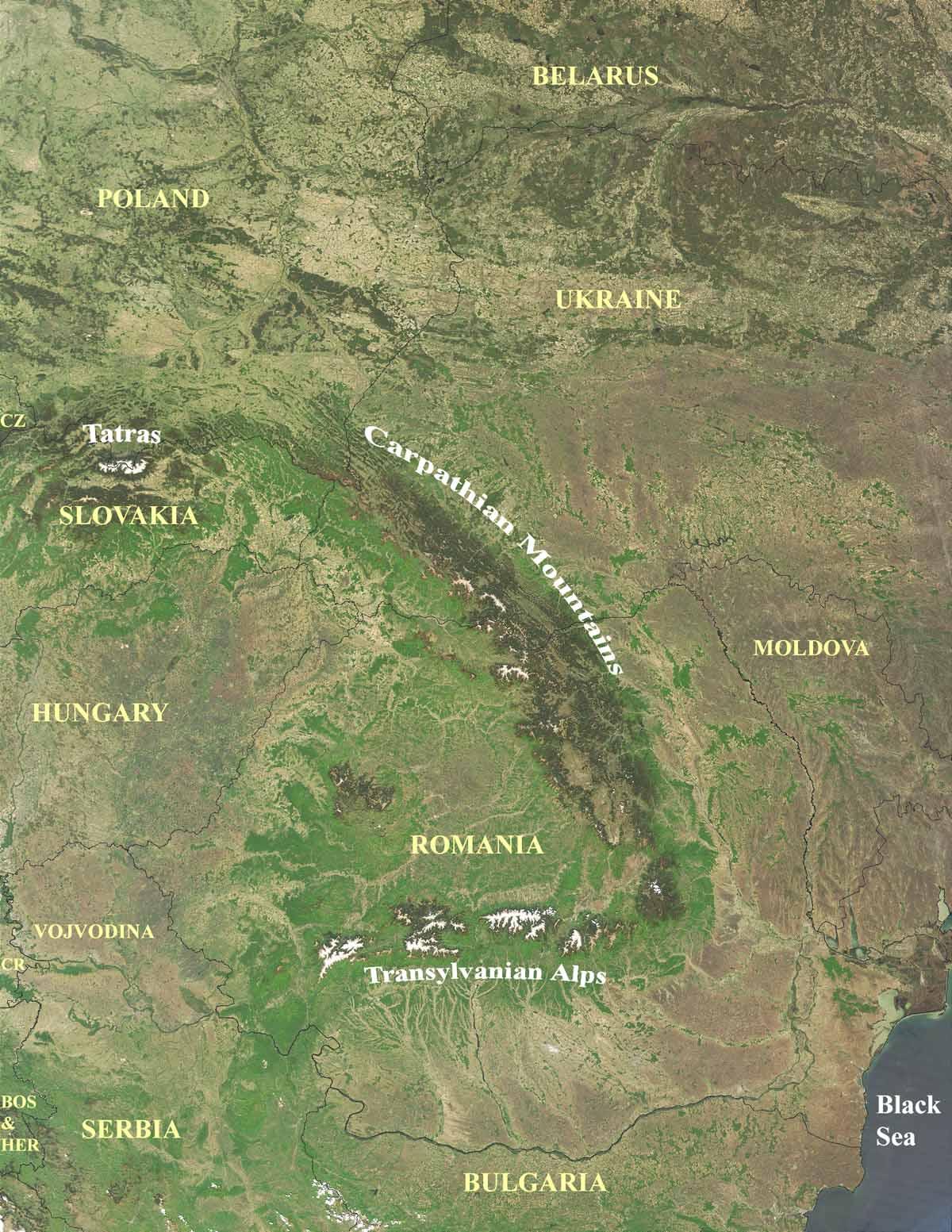 Carpathian Mountains On World Map.Carpathian Map